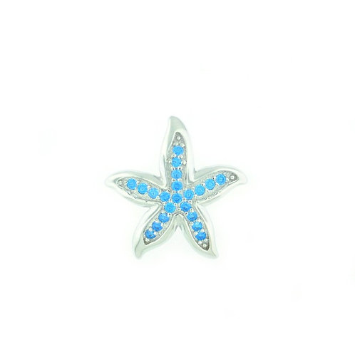 Sterling Silver Blue Topaz Starfish Necklace