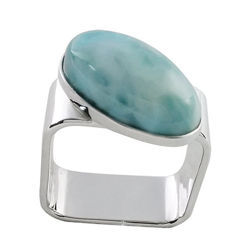 Larimar Square Sterling Silver Ring