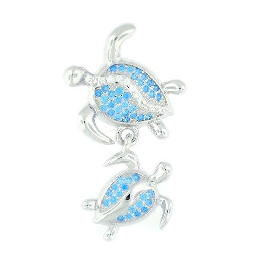 Sterling Silver Blue Topaz Double Sea Turtle