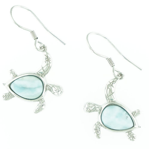 Swimming Sea Turtle Larimar Earrings