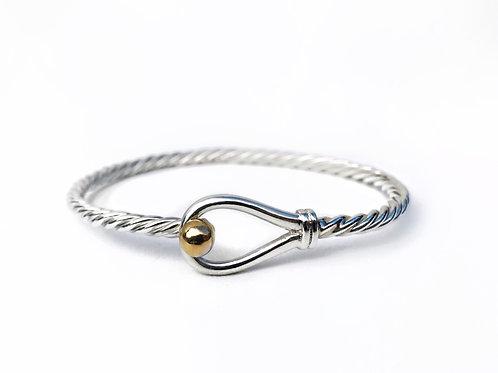 Sterling Silver Nautical Hook with 14K Gold Bracelet