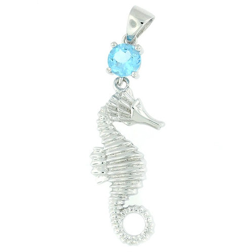 Sterling Silver Seahorse with Blue Topaz
