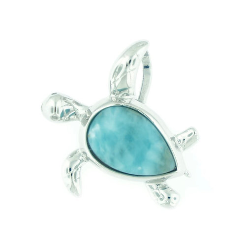 Sterling Silver Larimar Turtle Necklace