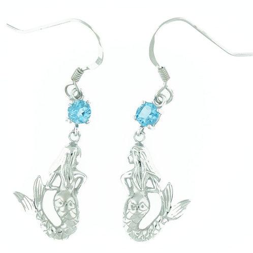 Sterling Silver Blue Topaz Mermaid Earrings