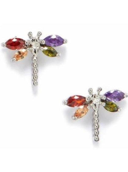Sterling Silver Swarovski Crystal Dragon Fly Stud Earrings