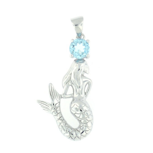 Sterling Silver Mermaid With Blue Topaz