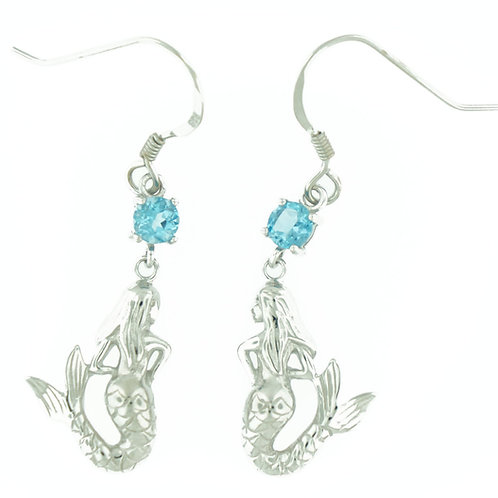 Blue Topaz Mermaid Earrings