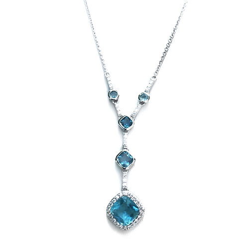 Sterling Silver Blue Swarovski Drop Necklace