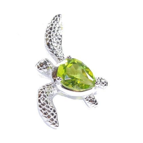 Sterling Silver Peridot Sea Turtle