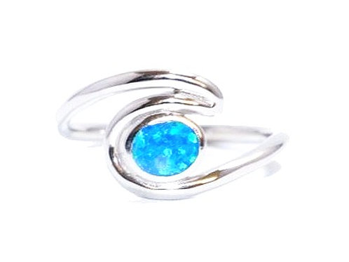 Sterling Silver Fire Opal Wave Ring