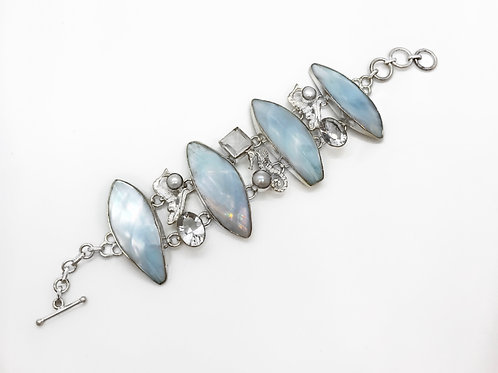 Sterling Silver Blue Mother Of Pearl Shell Bracelet