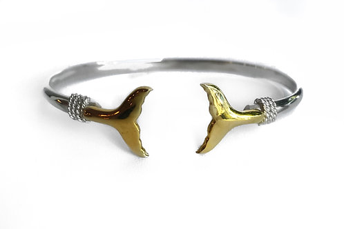 Sterling Silver and 14K Gold Double Whale Tail Bracelet
