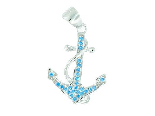Sterling Silver Blue Topaz Anchor