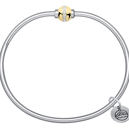 Authentic Le Stage Single Ball Diamond and Gold Bracelet