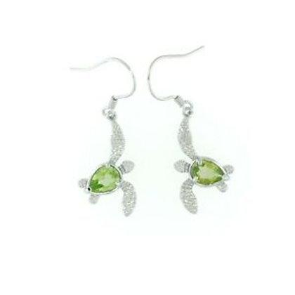 Peridot Sea Turtle Earrings