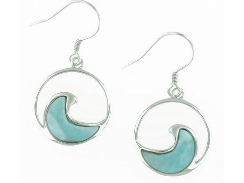 Sterling Silver Larimar Wave Earrings