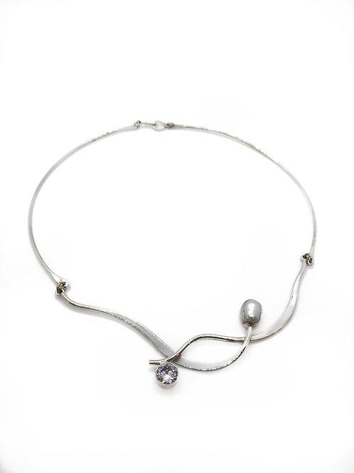 Sterling Silver Pearl Swarovski Necklace