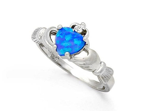 Fire Opal Sterling Silver Irish Claddagh Ring