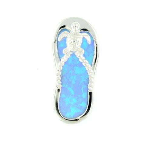 Sterling Silver Fire Opal Flip Flop Necklace