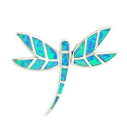 Sterling Silver Fire Opal Dragon Fly Necklace