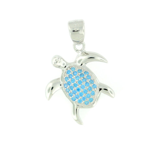 Sterling Silver Blue Topaz Sea Turtle Necklace