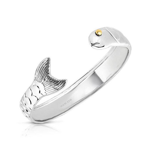 Sterling Silver and 14K Gold Fish Bracelet