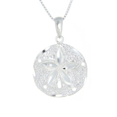 Sterling Silver Diamond Cut Sand Dollar Necklace