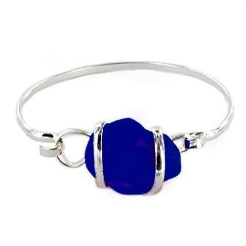 Cobalt Blue Sterling Silver Sea Glass Bracelet