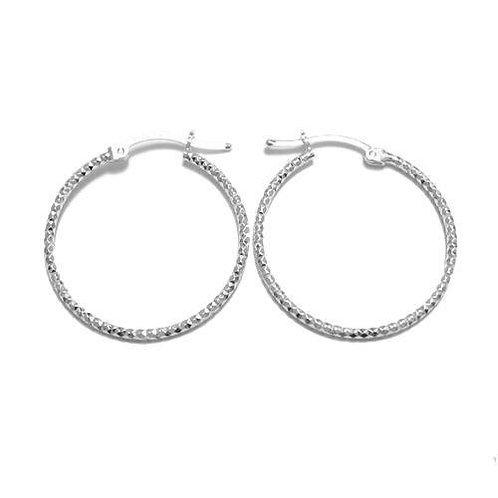 Diamond Cut Sterling Silver Hoops
