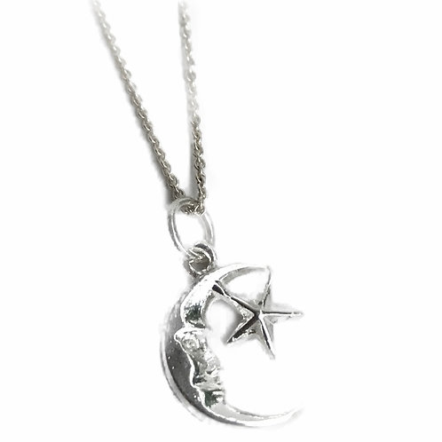 Sterling Silver Sun and Moon Necklace