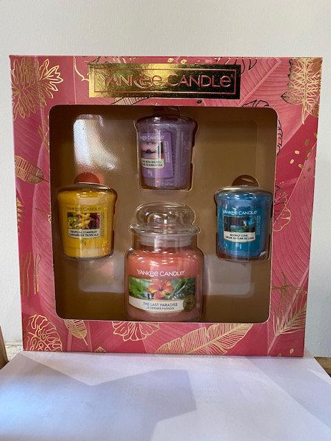 Coffret Yankee Candle 3 votives+1 petite jarre - The Last Paradise