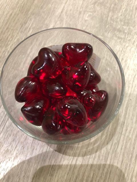 Perles de bain coeur - Fraise