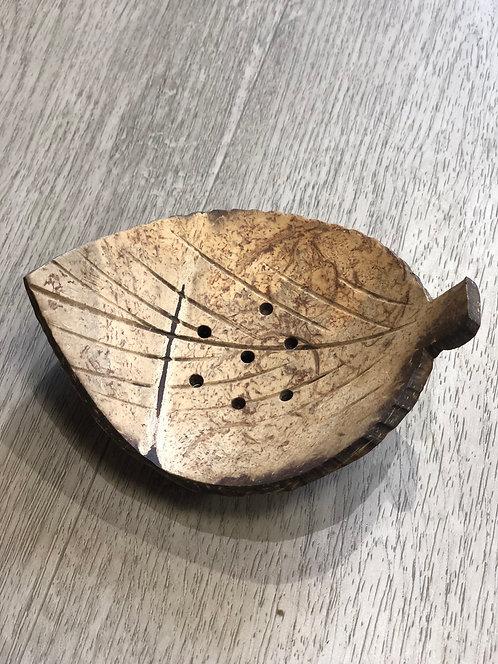 Porte savon végétal et naturel feuille - En noix de coco