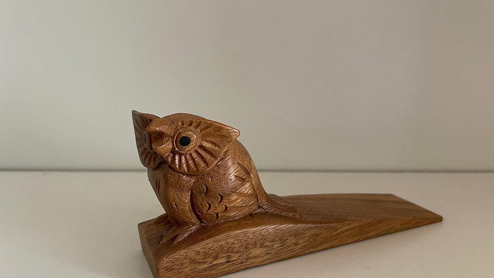 Wooden Owl Doorstop