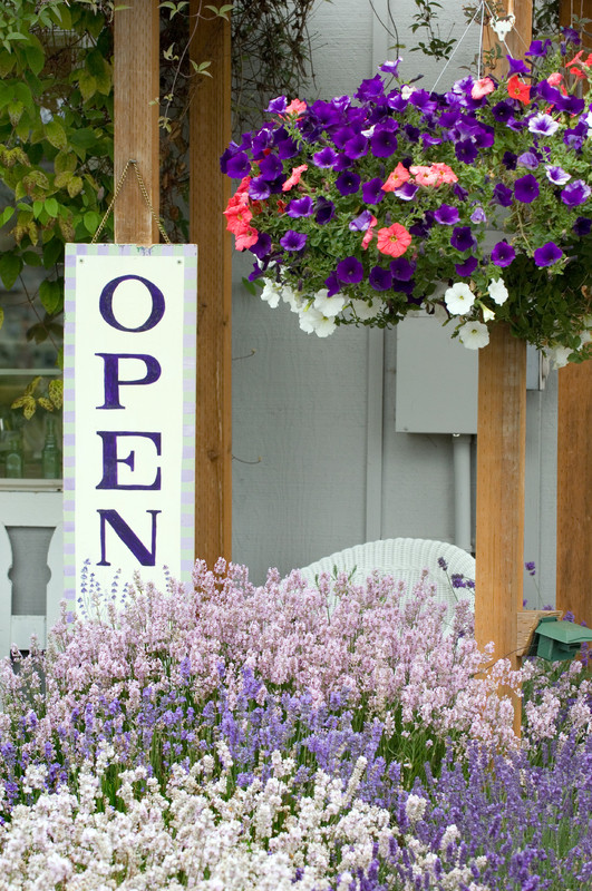 local store with open sign and flowers