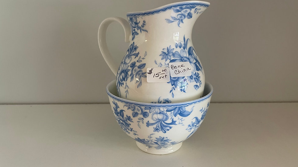 Fine Bone China Pitcher and Bowl
