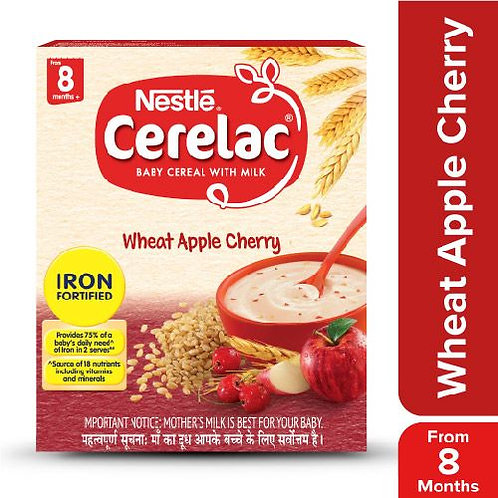 Nestle Cerelac Fortified Baby Cereal With Milk, Wheat Apple Cherry - From 8 Mont