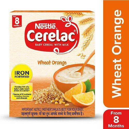 Nestle Cerelac Fortified Baby Cereal With Milk, Wheat Orange - From 8 Months, 30