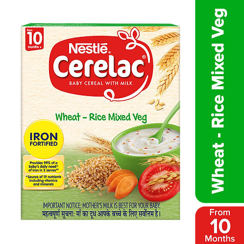 Nestle Cerelac Fortified Baby Cereal With Milk, Wheat-Rice Mixed Veg - From 10 M