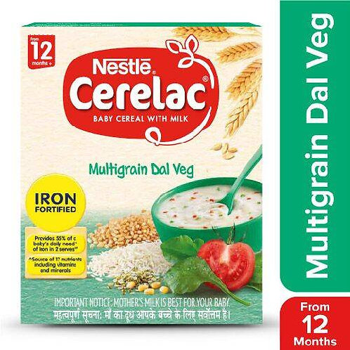 Nestle Cerelac Fortified Baby Cereal With Milk, Multigrain Dal Veg - From 12 Mon