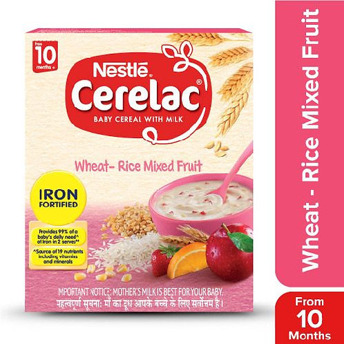 Nestle Cerelac Fortified Baby Cereal With Milk, Wheat-Rice Mixed Fruit - From 10