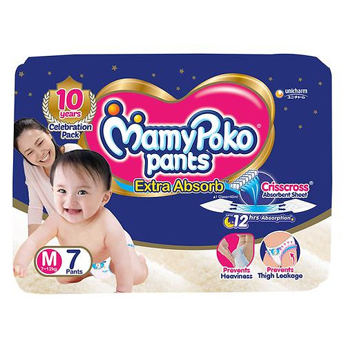 Mamypoko Pants - Extra Absorb Diaper, Medium Size, 7 pcs Pouch