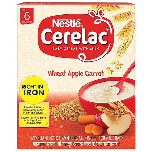 Nestle Cerelac Baby Cereal - Wheat Apple Carrot, 6 months +, 300 g