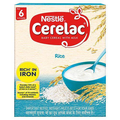 Nestle Cerelac Fortified Baby Cereal With Milk, Rice - From 6 Months, 300 g Bag-
