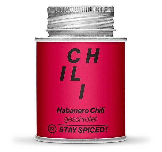 Habanero Chili, orange, geschrotet, getrocknet, Schraubdose