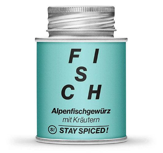Alpenfischgewürz mit Kräutern, gemahlen, Pulver, Streudose, Vorderansicht