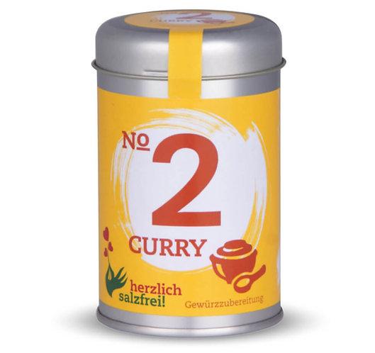 herzlich salzfrei, Nr.2 Curry, Gewürze ohne Salz, Streudose - 90g, Vorderansicht