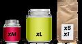Gewürzdosen und Beutel, Verpackungsgrössen Übersicht