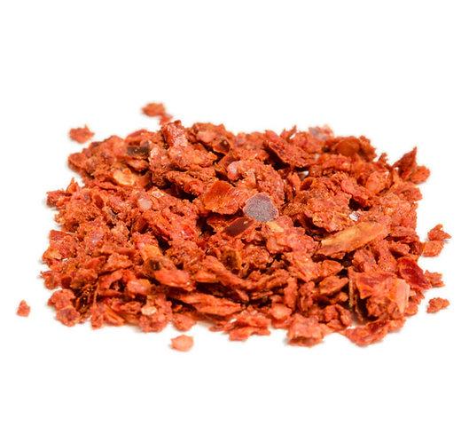 Chili, Peperoncino, rot, mild, geschrotet ohne Saat, getrocknet