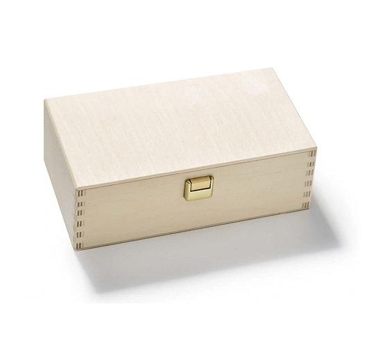 Geschenkbox Holz, für 3 Gewürzdosen, Vorderansicht
